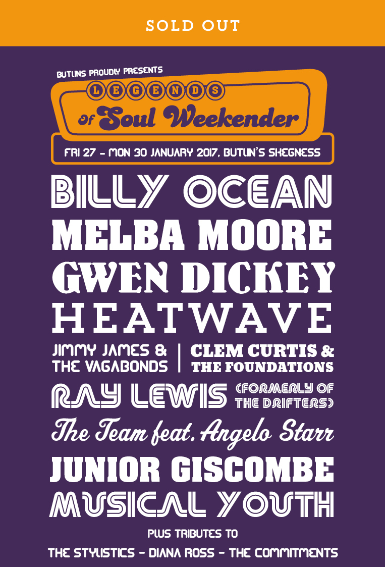 Butlins Live Music Weekend - Legends of Soul Weekender
