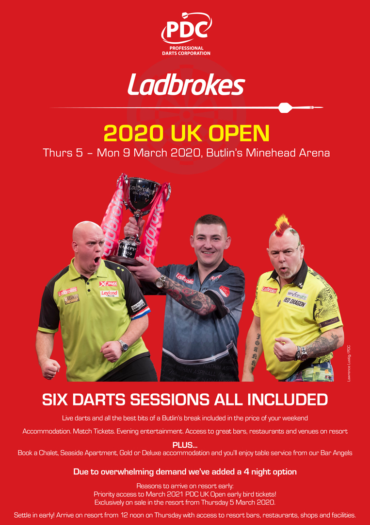 Butlins Live Music Weekends - PDC Darts 2019 UK Open Finals Butlins Minehead