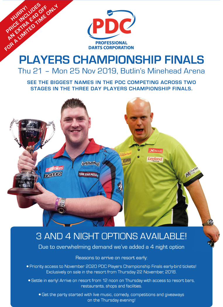 Butlins Live Music Weekends - PDC Darts Players Championship