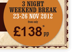 3 night weekend break 23 - 26 Nov 2012 from only £129pp